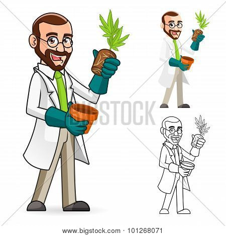 Plant Scientist Cartoon Character Inspecting The Roots of a Plant