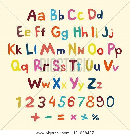 Hand-drawn Vector Alphabet. Art Children Vintage