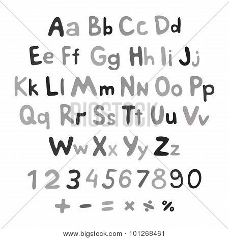 Hand-drawn Vector Alphabet. Art Children Vintage
