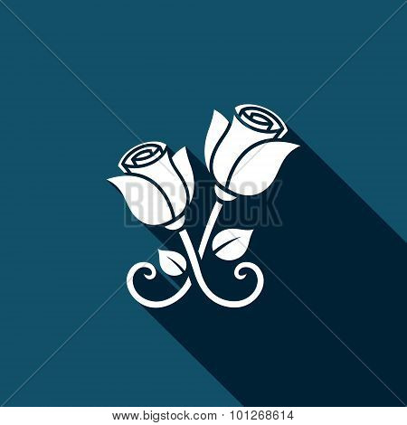 Metal Forged Roses Vector Icon