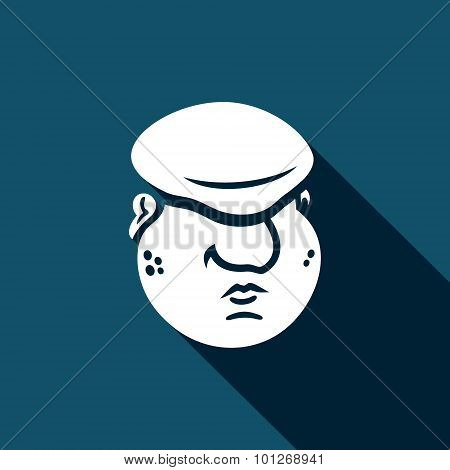 Cartoon Immigrant Head Icon. Vector Illustration