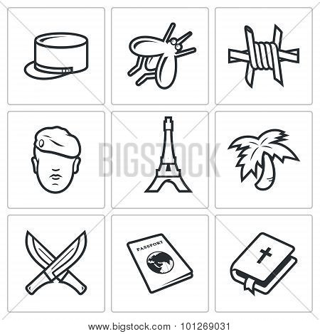 French Foreign Legion Icons. Vector Illustration