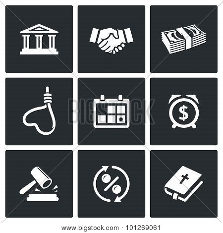 The Consequences Of The Credit Icons. Vector Illustration