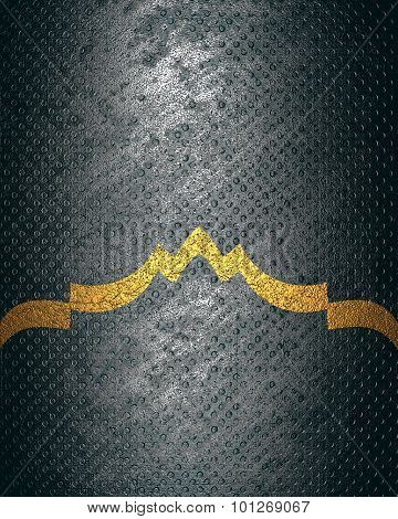 Grunge Metal Background With A Gold Edge. Element For Design. Template For Design. Copy Space For Ad