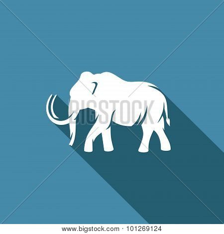 Mammoth Silhouette Icon. Vector Illustration