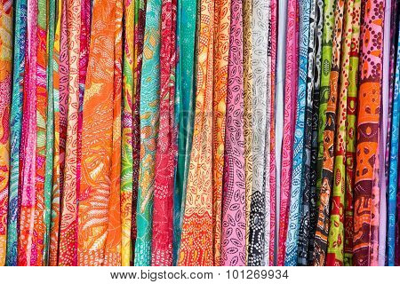 Assortment Of Colorful Sarongs For Sale, Island Bali, Ubud, Indonesia