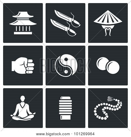 Wing Chun Icons. Vector Illustration.