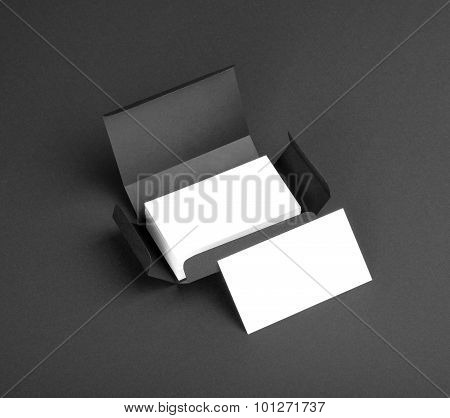 White Business Cards In The Gray Box.