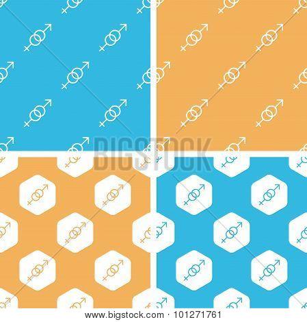 Gender signs pattern set, colored