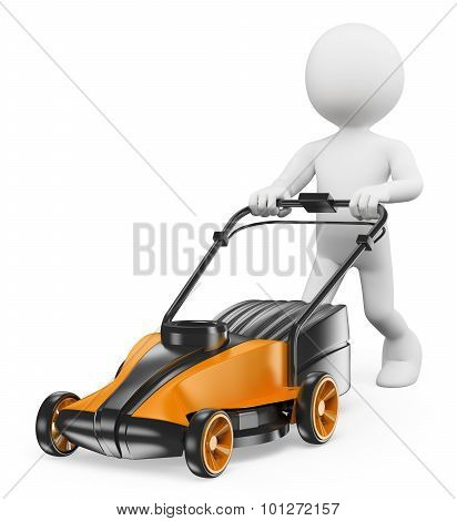 3D White People. Man With A Lawn Mower