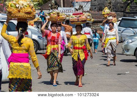 Indonesian People Celebrate Balinese New Year And The Arrival Of Spring. Ubud, Bali, Indonesia