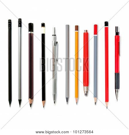 Lead Pencils Isolated On White, Several Pencils, Mechanical Pencil