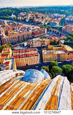 View Of Rome And The Vatican From The Top Of The Dome Of The Basilica Of St. Peter