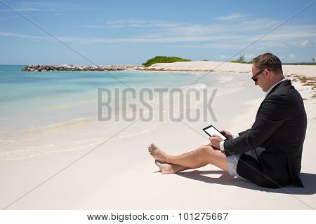 Businessman with digital tablet on the beach