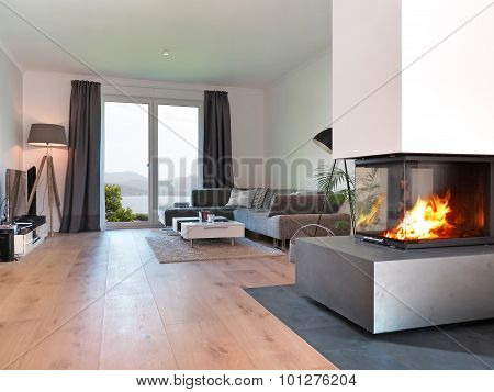 Modern living room with fire place