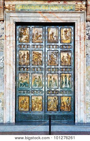 The Holy Door Is The Northern Entrance At St. Peter's Basilica In The Vatican. It Is Cemented Shut A