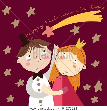 Valentine's Day.romantic Concept. Loving Boy And Girl. Cute Cartoon Vector Illustration