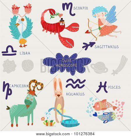 Cute Horoscope. Zodiac Set. Libra,scorpio,sagittarius, Capricorn, Aquarius, Pisces