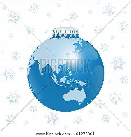 Christmas Ball Asia Australia World Snow