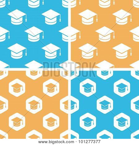 Academic cap pattern set, colored