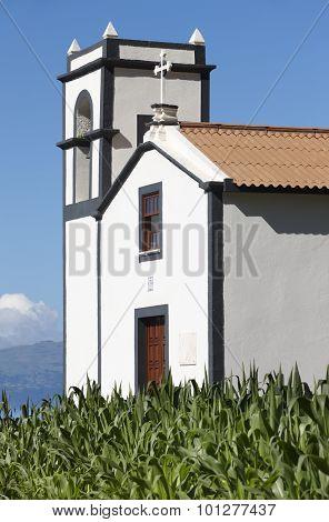 Traditional Azores Catholic Chapel In Sao Jorge Island. Portugal