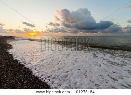 Batumi, Adjara, Georgia - September 1, 2015: Scenic Sunset Over The Black Sea