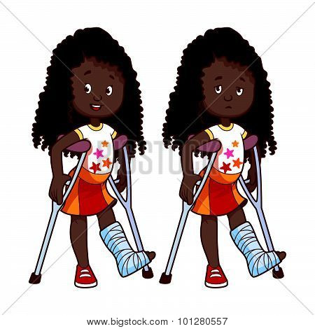 Cheerful And Sad African American Girl With A Broken Leg In A Cast.