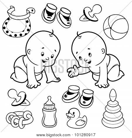 Two Toddler In Diapers With Baby Items