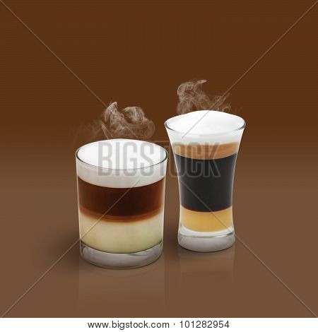 Latte And Mocha On Brown Background