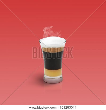 Mocha Coffee Isolated On Red