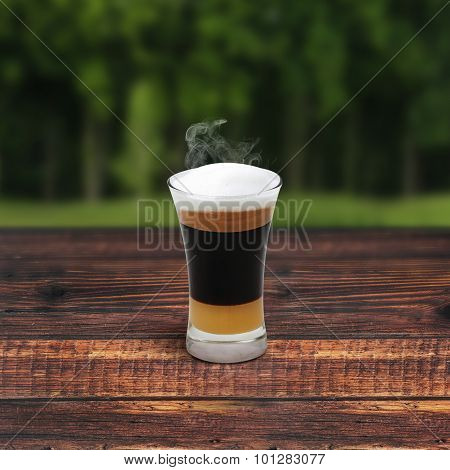 Mocha Coffee On Wooden Table