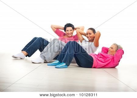 Happy Women Doing Abs