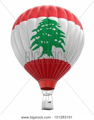 Hot Air Balloon with Lebanese Flag (clipping path included)