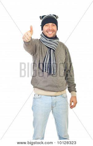 Winter Guy Giving Thumbs