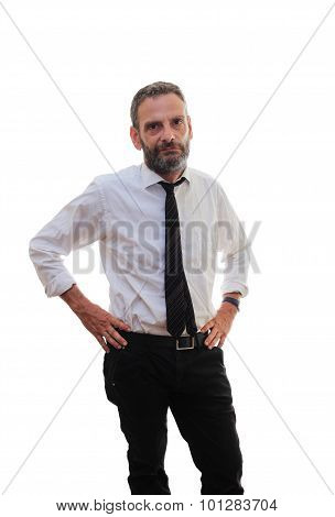 Isolated Man Over White
