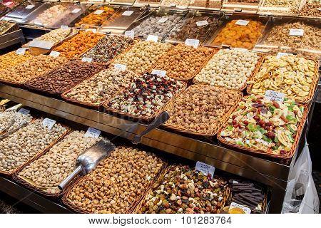 Dried Fruits At Mercat De Sant Josep De La Boqueria Market In Barcelona