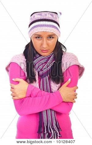Cold Shivering Young Woman