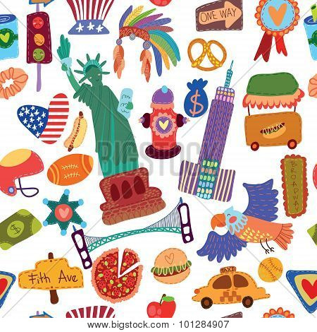 Cartoon Seamless Pattern With American Elements. Seamless Pattern Can Be Used For Wallpaper, Pattern