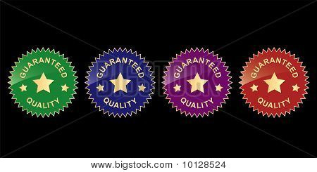 "colorful labels with words ""guaranteed quality"""