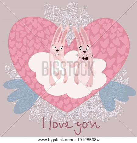 Romantic Concept With Cute Bunnies In Love. Valentines Day Card In Cartoon Style.
