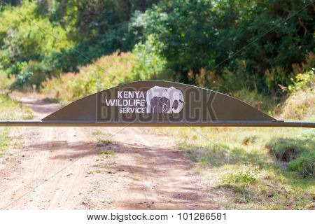 Sign At The Entrance To The National Park In Marsabit Kenya.
