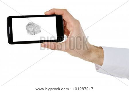 Fingerprint  on screen of smartphone. Mobile security concept