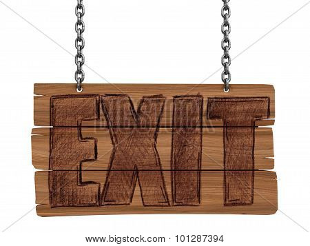 Wooden Blackboard with EXIT (clipping path included)