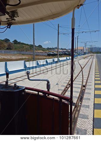 Tramway car at Praia das Macas, Sintra, Portugal