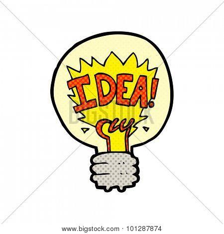 comic book style cartoon idea light bulb symbol