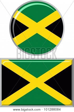 Jamaican round and square icon flag. Vector illustration.
