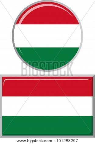 Hungarian round and square icon flag. Vector illustration.