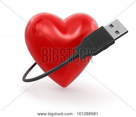 Heart and USB Cable (clipping path included)