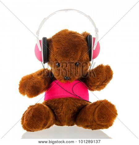 Funny stuffed bear with head phone isolated over white background