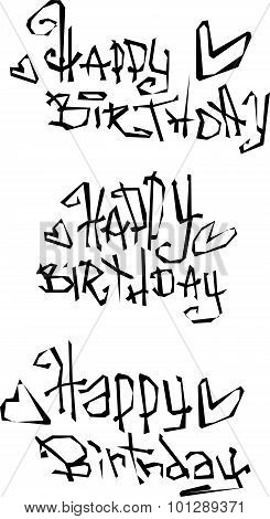 Happy Birthday Wish Cut Out Liquid Curly Graffiti Fonts
